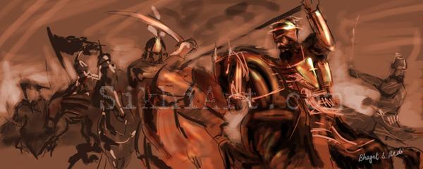 Guru Gobind Singh ji, Escape from Anandpur Punjab, Arts of the Punjab Region, Art of Sikh Gurus, Art of Sikhi, Punjabi Paintings, Bhagat Singh Bedi