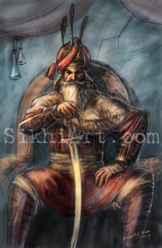 Hari Singh Nalwa, Sikh Warriors, Sikhi Art, Arts of the Punjab Kingdom, Paintings, Bhagat Singh Bedi, Ink, Colour