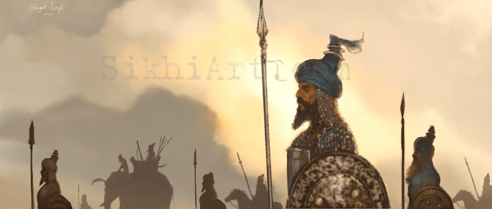 Together We March, Sikh Warriors, Nihangs, Elephants, Marching Towards Battle, Sikhi, Art, Punjab Paintings, Bhagat Singh Bedi
