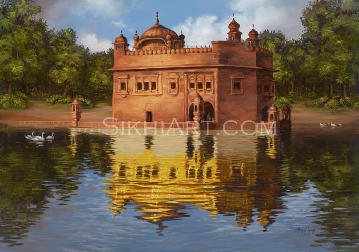 Golden Temple, Harimandir, Harmandir sahib, Darbar sahib, sikh gurudwara, Art and Architecture of Punjab, Amritsar, Sikhi Art, Sikh Art of Bhagat Singh Bedi, Painting