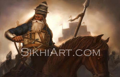 Akali Nihang General, Akali, Nihang, Phula, Phoola, Ranjit Singh, Sikhi, Art, Punjab, Painting, Sikh Warriors, Bhagat Singh Bedi