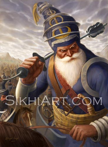 Akali Phula Singh, Akali Phoola Singh, Akali, Nihang, Sikh, Warrior, Maharaja, Ranjit, Singh, Sikhi Art, Images of Punjab, Painting, Sikh Warriors, Bhagat Singh Bedi