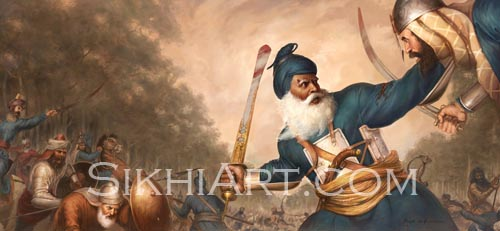 Baba Deep Singh, Harimandir Sahib, Golden Temple, Harmandir Sahib, Amritsar, Sikhi, Art, Punjab Landscape, Painting, Sikh Warriors, Sikh art by Bhagat Singh Bedi, Artist, Photo of Punjab