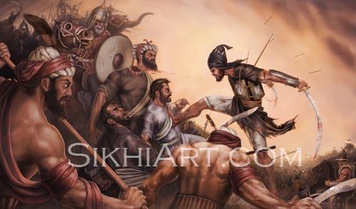 Battle of Chamkaur, Sahibzada Ajit Singh, Baba Ajit Singh, Chaar Sahibzade, Sikhi Art, Pictures of Punjab, Sikh Painting, Sikh Warriors, Bhagat Singh Bedi