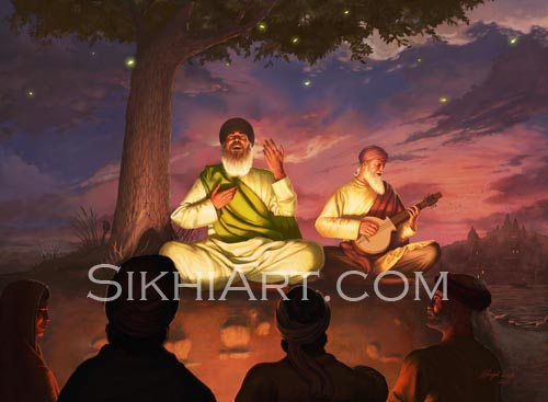 Guru Nanak, Guru Nanak Dev, Shabad Vichar, Temple Complex, Hindu Temple, Haridwar, Benares, Bhai Mardana, Brahmin, Caste System, Equality, Kirtan, Bhagati, Bhakti, Sikh, Sikhi, Sikhism, Udasi, Udasis, Travels, Art, Punjab, Paintings, Sikh Warriors, Bhagat Singh Bedi, picture of Guru Nanak