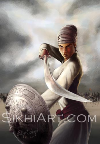 Mai Bhago, Sikh Women, Sikh Warriors, Sikhi, Art, Punjab, Paintings, Bhagat Singh Bedi