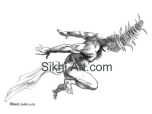 A Deadly Headbutt, Akali, Nihang, Turban, Dastaar Boonga, Warrior, Sikh Warrior, Sikh fantasy painting, Drawing, Sketch