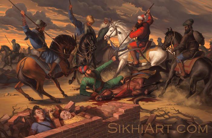 Baba Banda Singh Bahadur, Chotte Sahibzade, Chaar Sahibzade, Horseman, War Painting, fine art, sikh, beautiful punjabi painting, Sikh Warriors, Sikh Art by Bhagat Singh Bedi, Sikhi Art Punjab, Art of Sikhism