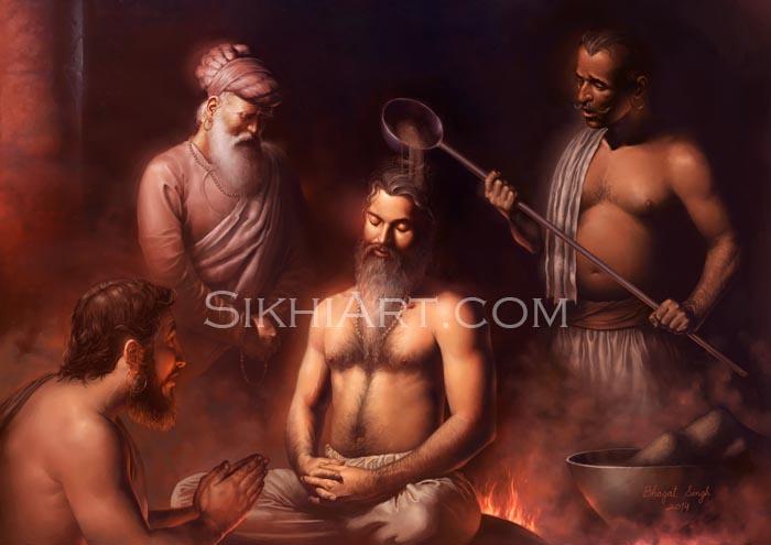 Guru Arjan, hot plate, martyr, Guru Arjun Dev, Sikh Gurus, fine art, sikh painting, Sikh Art of Bhagat Singh Bedi, Sikhi Art, Sikh Legacy of Punjab