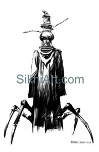 Lice Problem, Insect, Nihang, Warrior, Sikh Warrior, Sikh fantasy painting, Drawing, Sketch